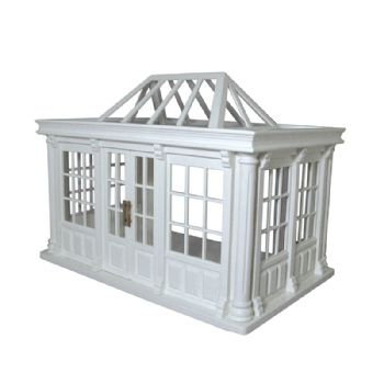 Victorian Deluxe Dolls House Conservatory in white